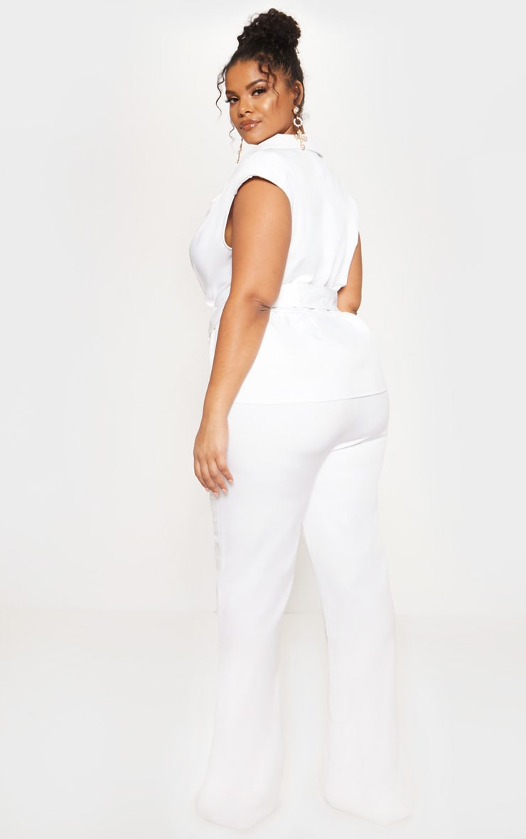 White Peplum Belt Detail Jumpsuit 3
