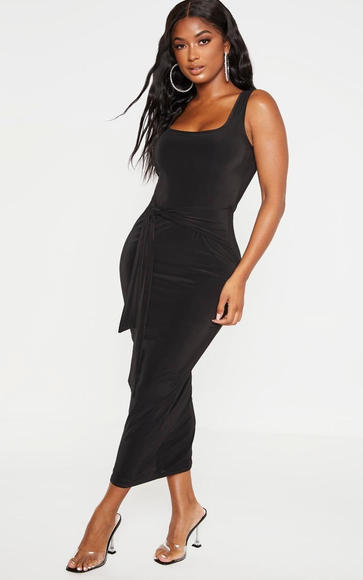 Shape - Robe longue slinky noire nouée devant 4