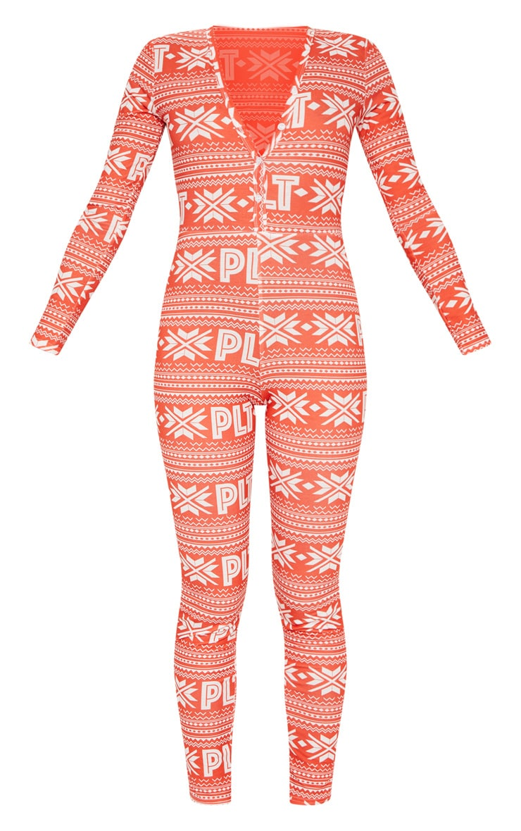 PRETTYLITTLETHING Red Fairisle Button Neck Onesie 3