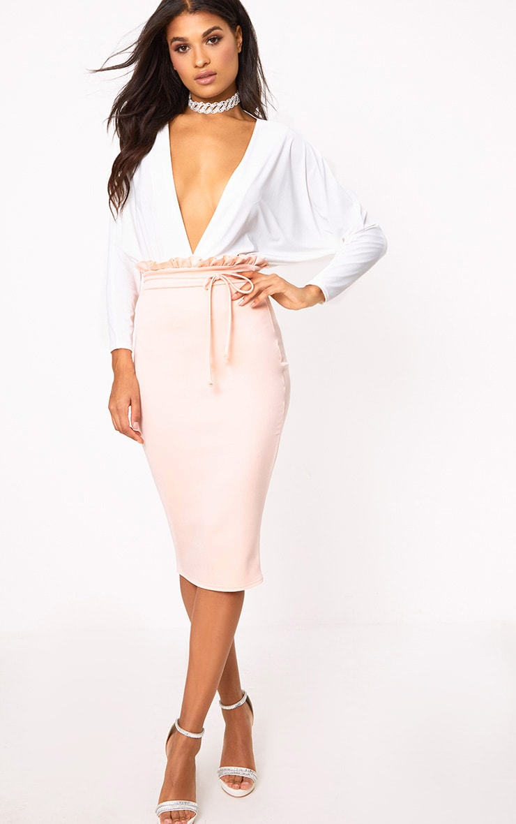 Blush Paperbag Waist Midi Skirt 1