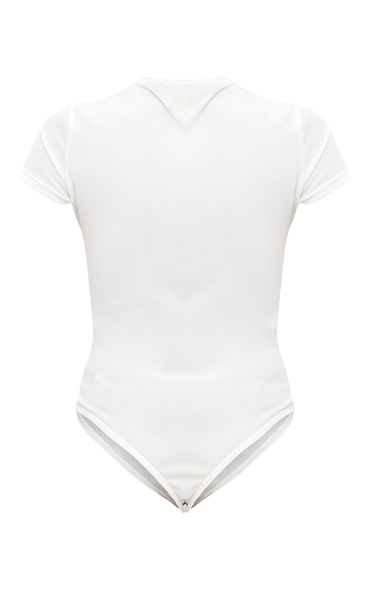 Cream Button Front Short Sleeve Rib Thong Bodysuit 4