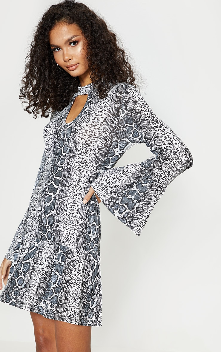 Grey Snake Print Key Hole Smock Dress 1
