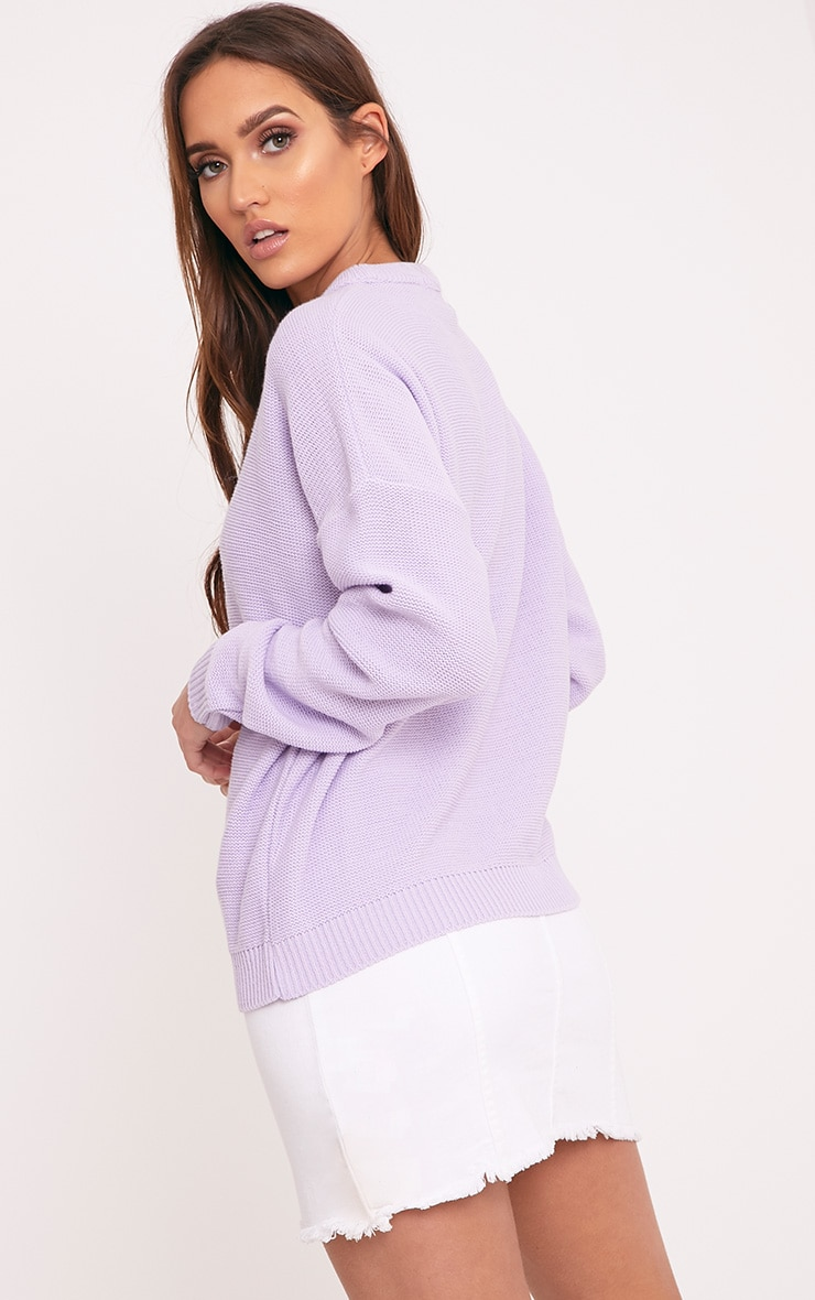 Roberta Lilac Round Neck Knitted Jumper 2