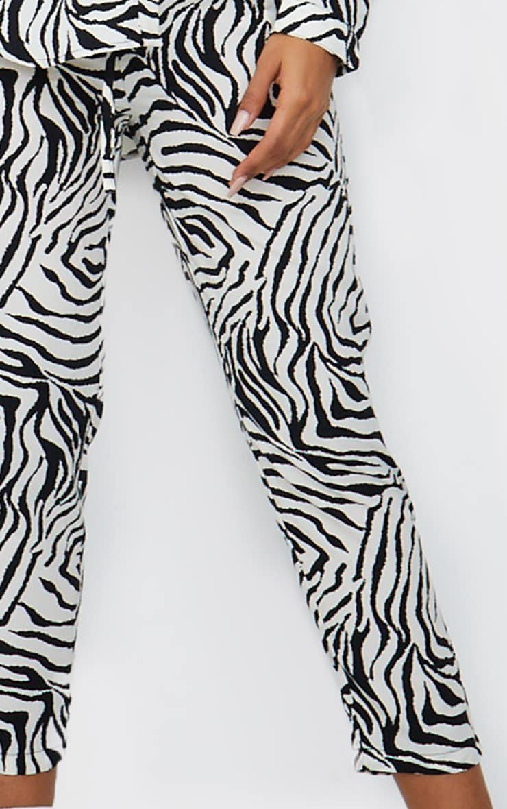 Black Zebra Print Cigarette Trousers 4