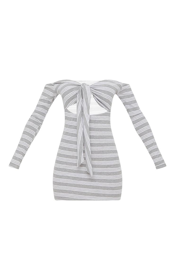 Grey Stripe Print Ribbed Bardot Tie Front Bodycon Dress 3