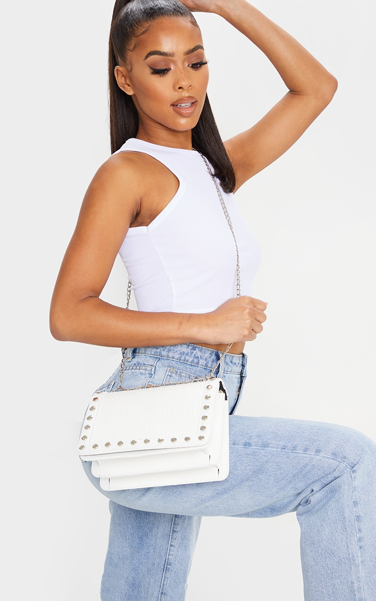 White Studded Croc Cross Body Bag 1