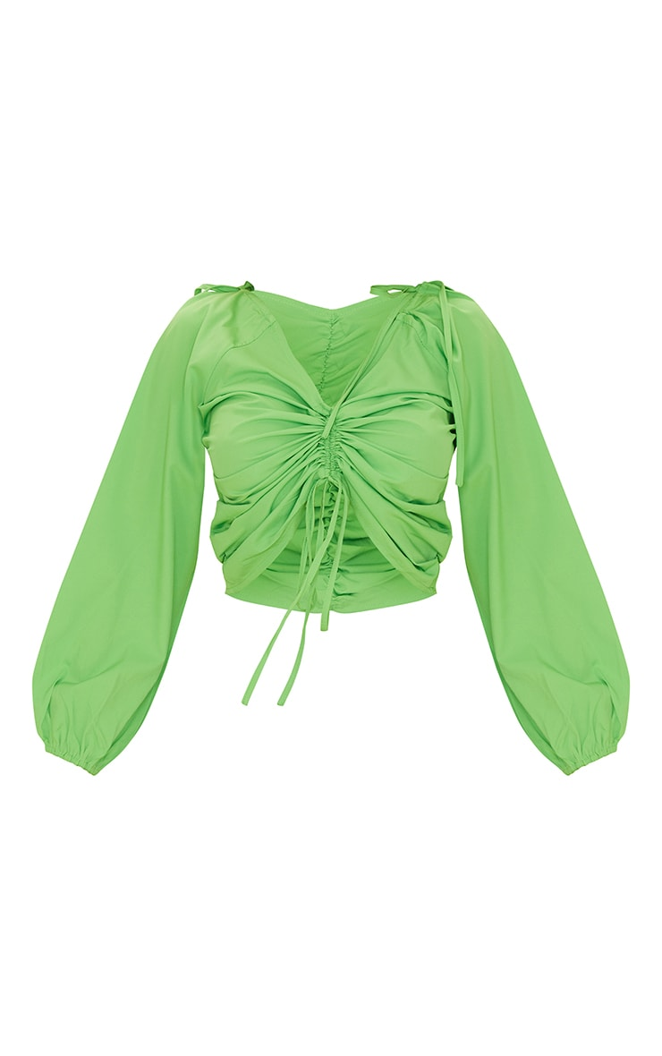 Bright Green Oversized Sleeve Woven Ruched Blouse 5