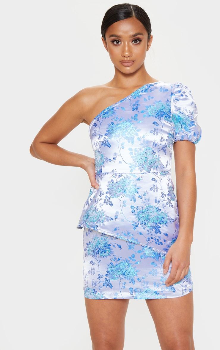 Petite Blue Jacquard One Shoulder Bodycon Dress 4