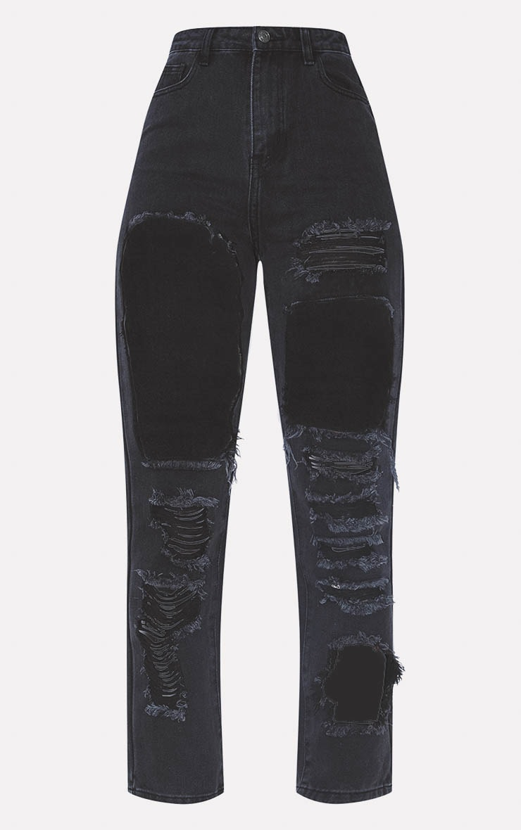 PRETTYLITTLETHING Washed Black Open Thigh Straight Leg Jean  3