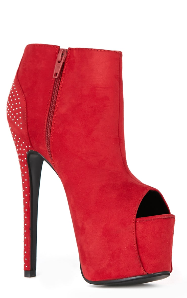 Ida Red Peep Toe Ankle Boots 3