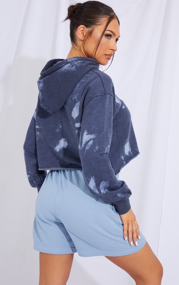 PRETTYLITTLETHING Charcoal Grey Slogan Washed Crop Hoodie 2