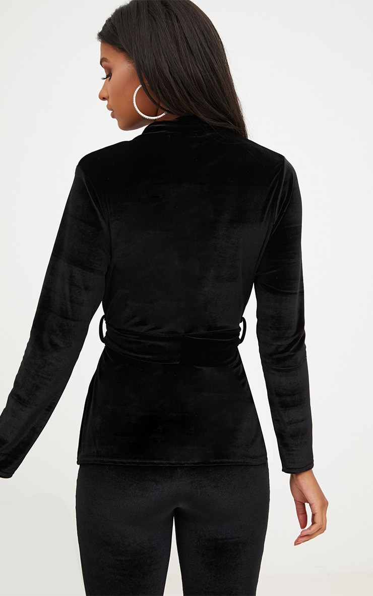 Black Velvet Belted Blazer 2