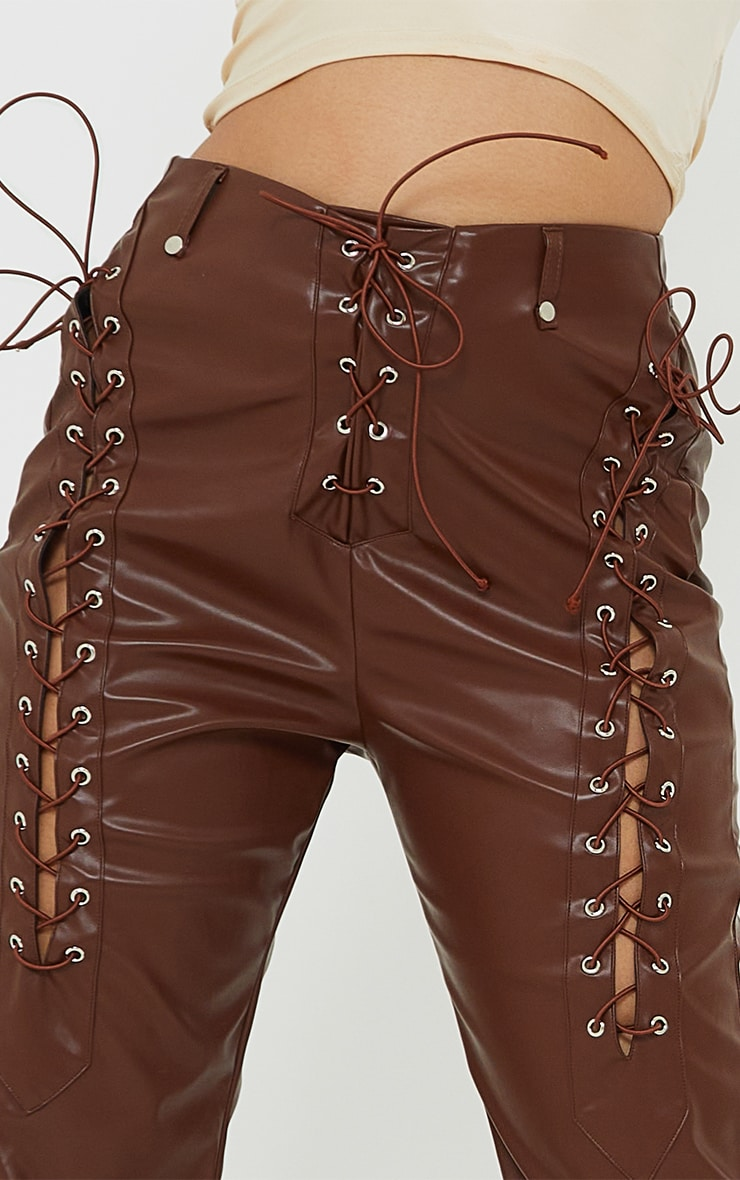 Petite Chocolate Lace Up Faux Leather Pants 4