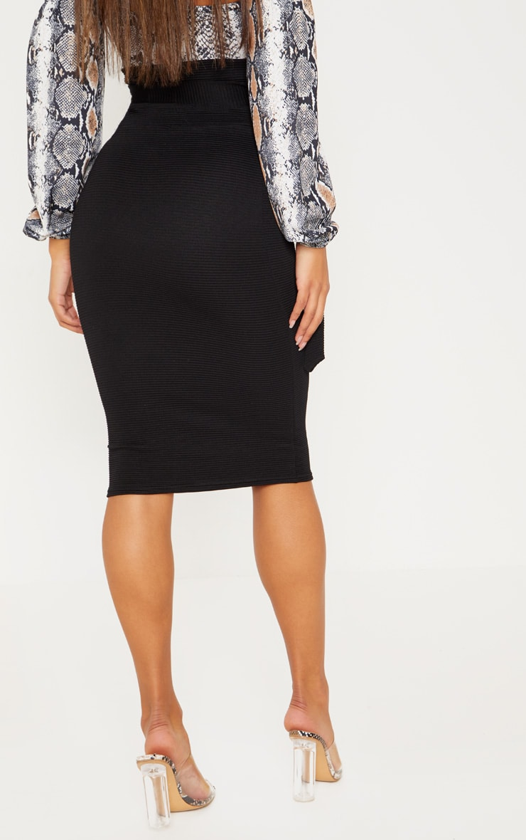 Black Highwaisted Thick Rib Tie Midi Skirt  3