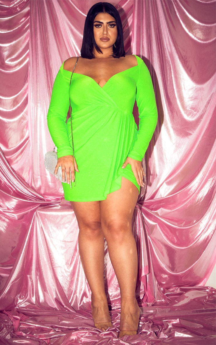 Plus Neon Lime Glitter Pleat Front Bodycon Dress 4