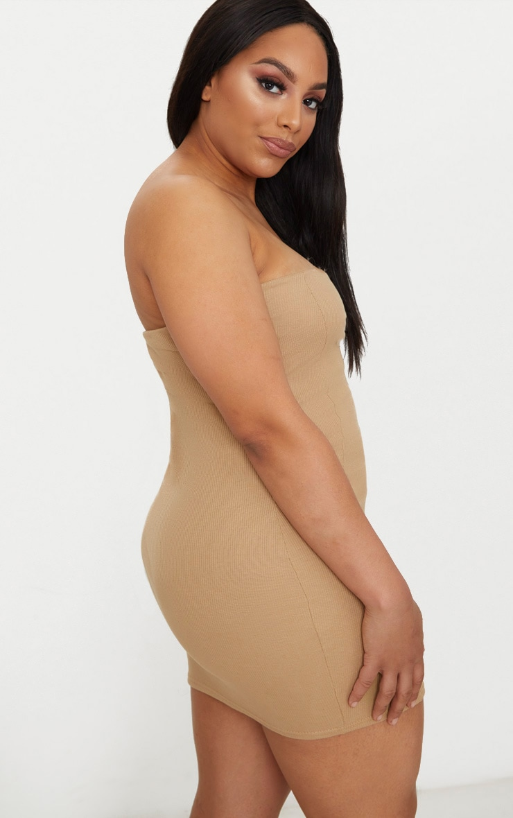 Plus Second Skin Camel Ribbed Panelled V Bar Bandeau Bodycon Dress 2