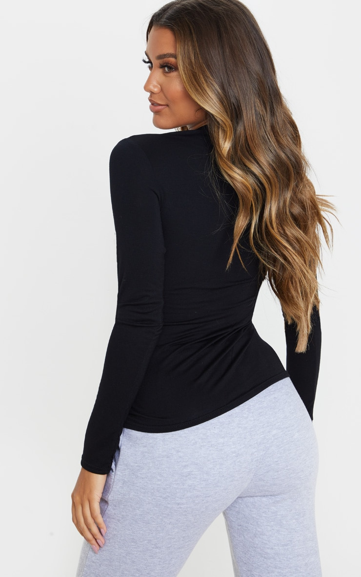 Black Basic 2 Pack Long Sleeve Fitted T Shirt 2