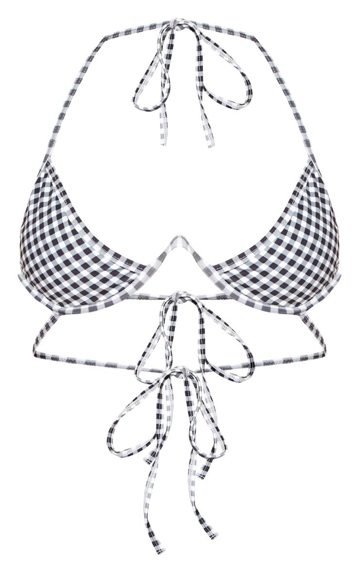 Black and White Gingham Cleavage Wire Bikini Top 3