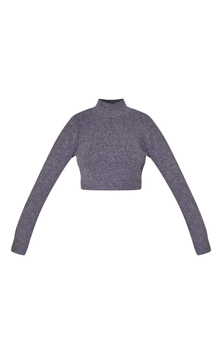 Charcoal Funnel Neck Crop Sweater 5