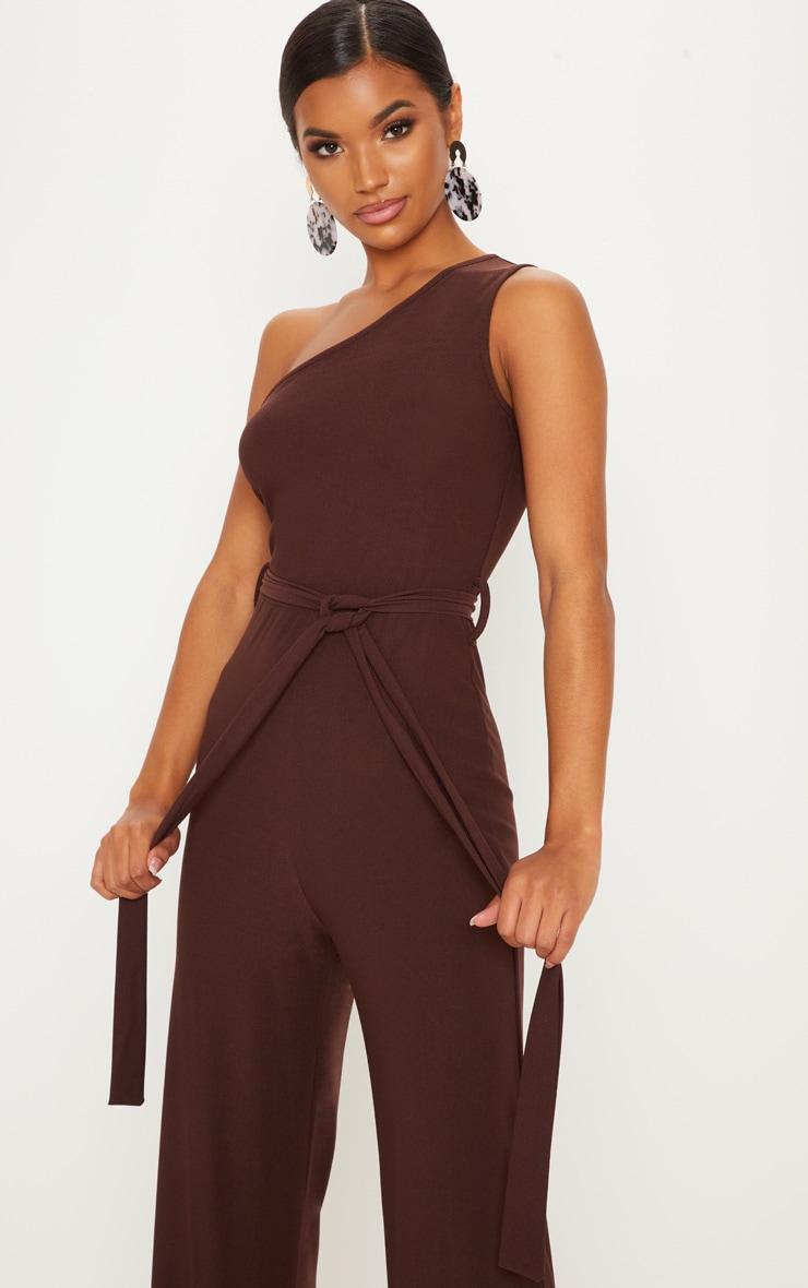 Chocolate One Shoulder Tie Waist Jumpsuit 5
