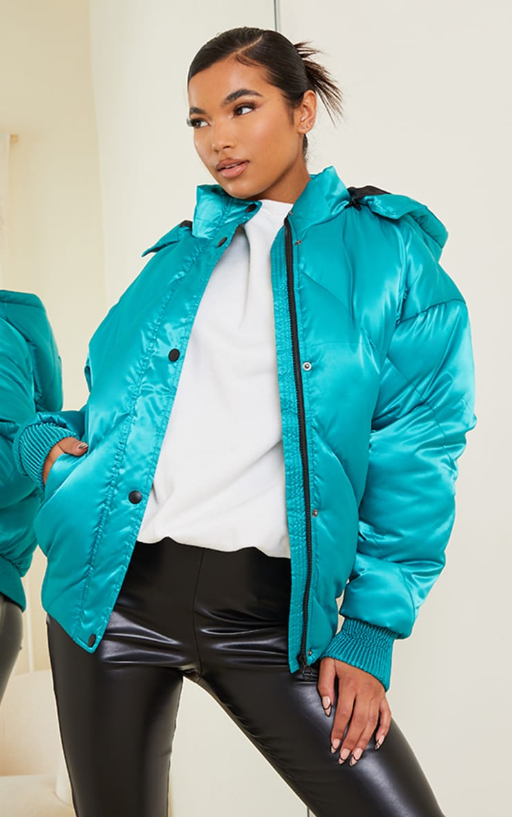 Green Satin Quilted Cuff Hem Puffer Jacket 1