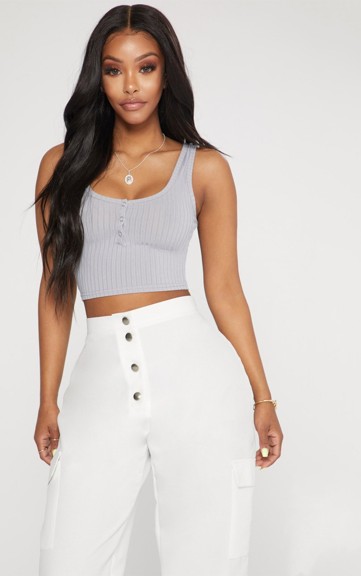 8fa4eeb4730 Shape Grey Marl Popper Detail Crop Top | PrettyLittleThing