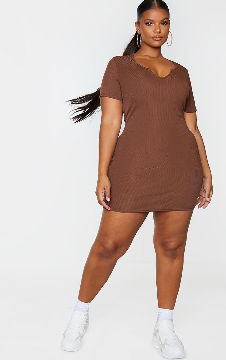 RECYCLED Plus Chocolate Rib Short Sleeve Split Neck Bodycon Dress 1