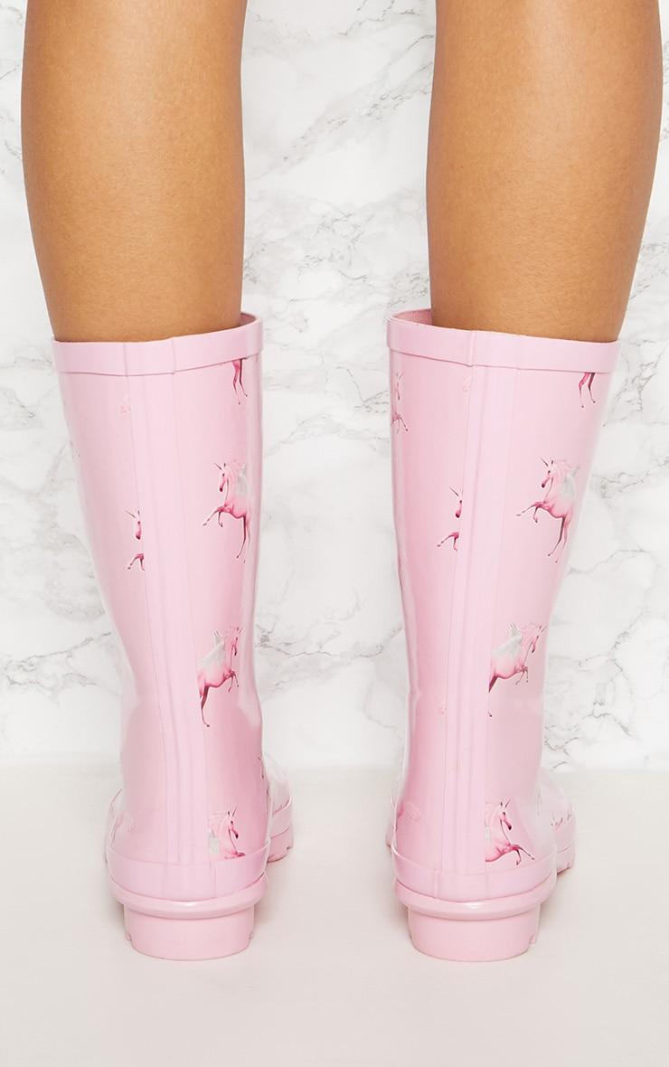 Bottes de pluie roses à imprimé licorne 4