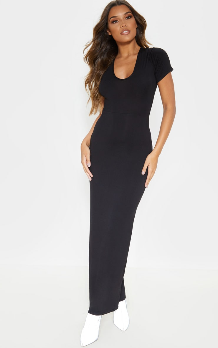 Black Jersey V Neck Short Sleeve Maxi Dress 1