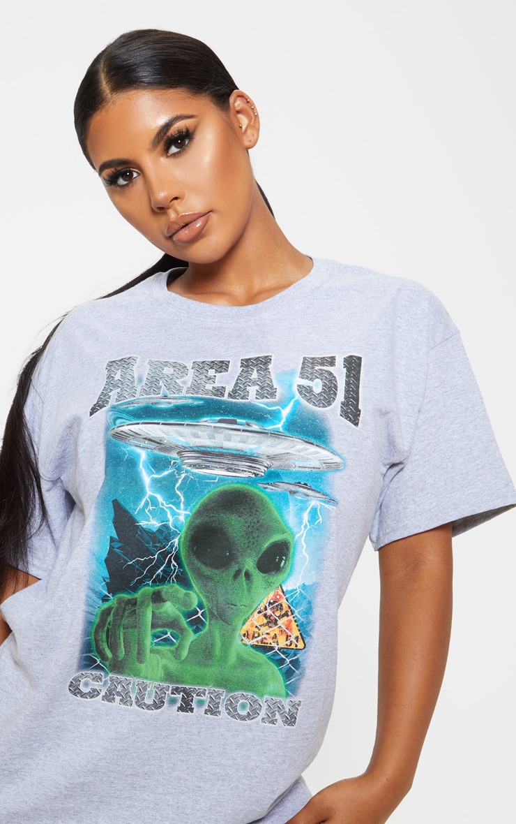 Grey AREA 51 Oversized T Shirt 5