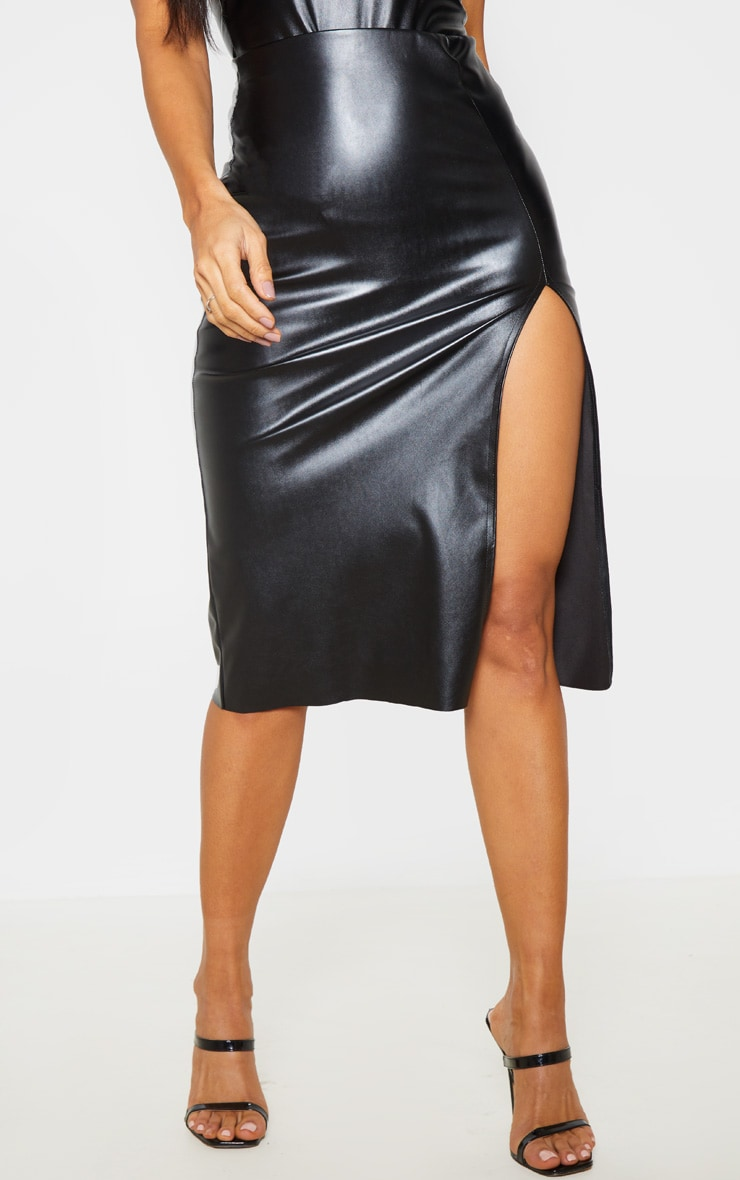 Black Faux Leather Extreme Split Midi Skirt  2