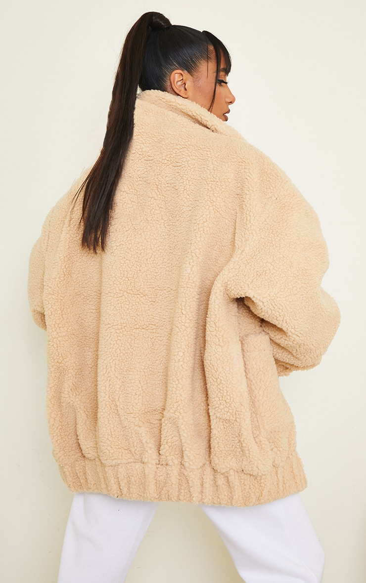 Camel Oversized Borg Pocket Front Coat 2