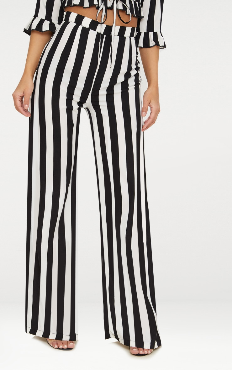 Petite Black Monochrome Stripe Wide Leg Pants 2