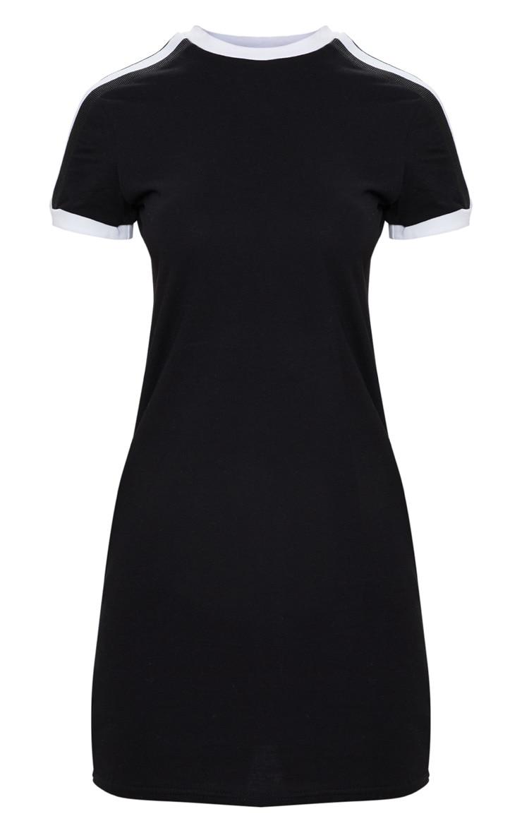 Black Triple Stripe Shoulder T Shirt Dress 3