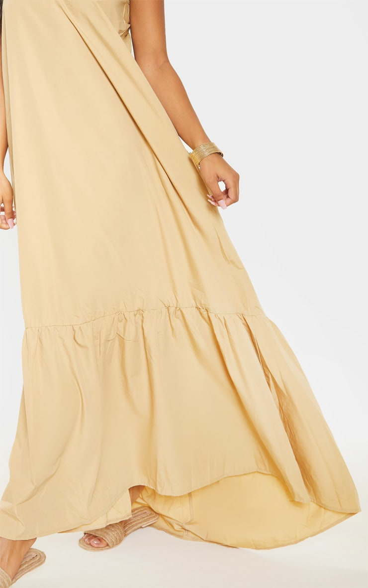 Camel Low Back Ruffle Hem Maxi Dress 5
