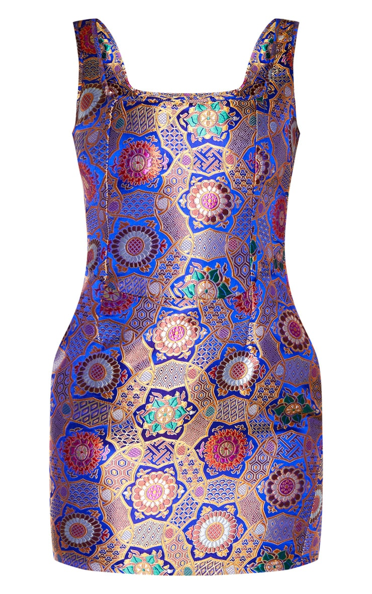 Multi Jacquard Oriental Sleeveless Square Neck Bodycon Dress 3
