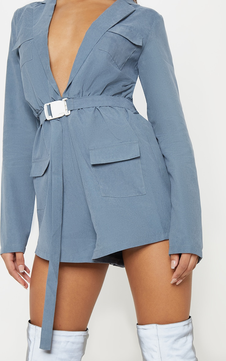 Dusky Blue Belt Detail Plunge Utility Playsuit 5