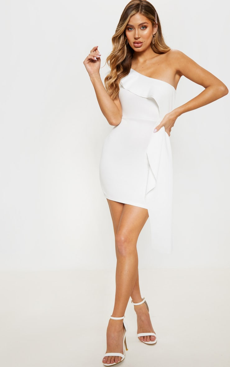 White Scuba One Shoulder Bodycon Dress 4
