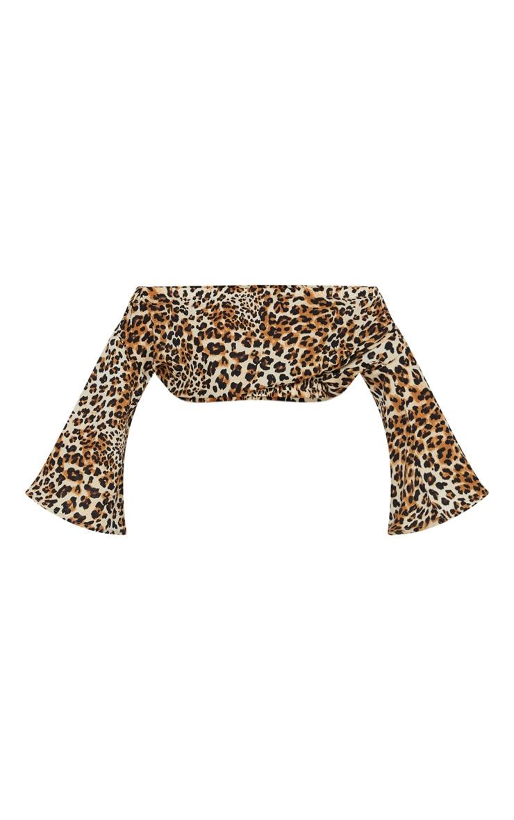 Petite Leopard Print Cropped Satin Bardot Blouse 3