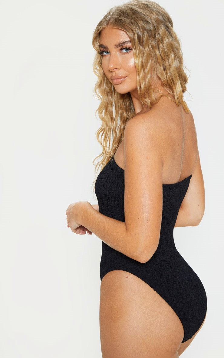 Black Crinkle Strapless Swimsuit 3