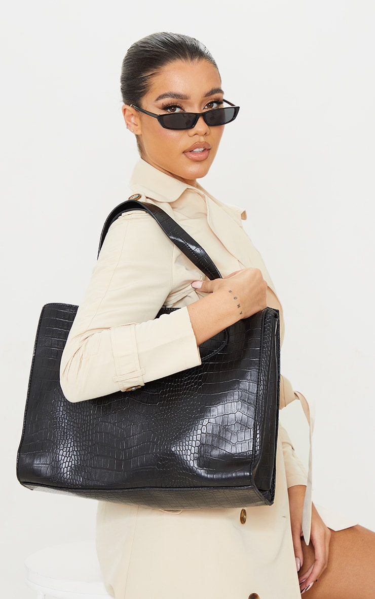 Black PU Croc Tote Bag 1