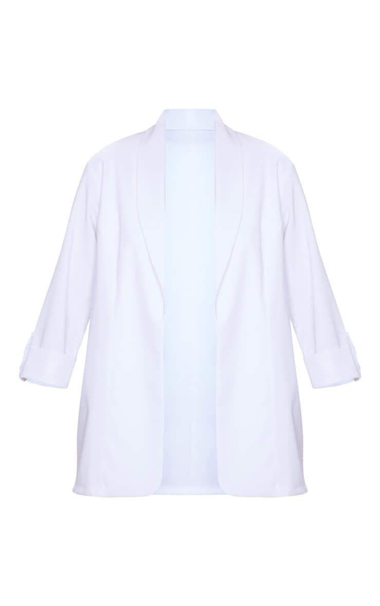 White Woven Turn Up Sleeve Blazer 5