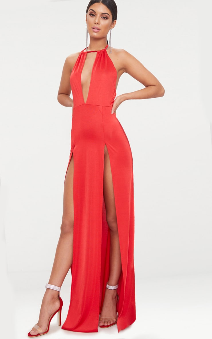Red High Neck Cut Out Detail Extreme Split Maxi Dress 4