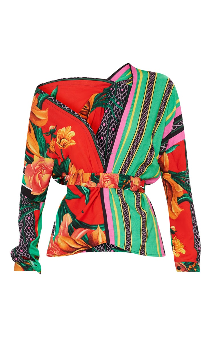 Multi Mixed Print Belted Blouse 3