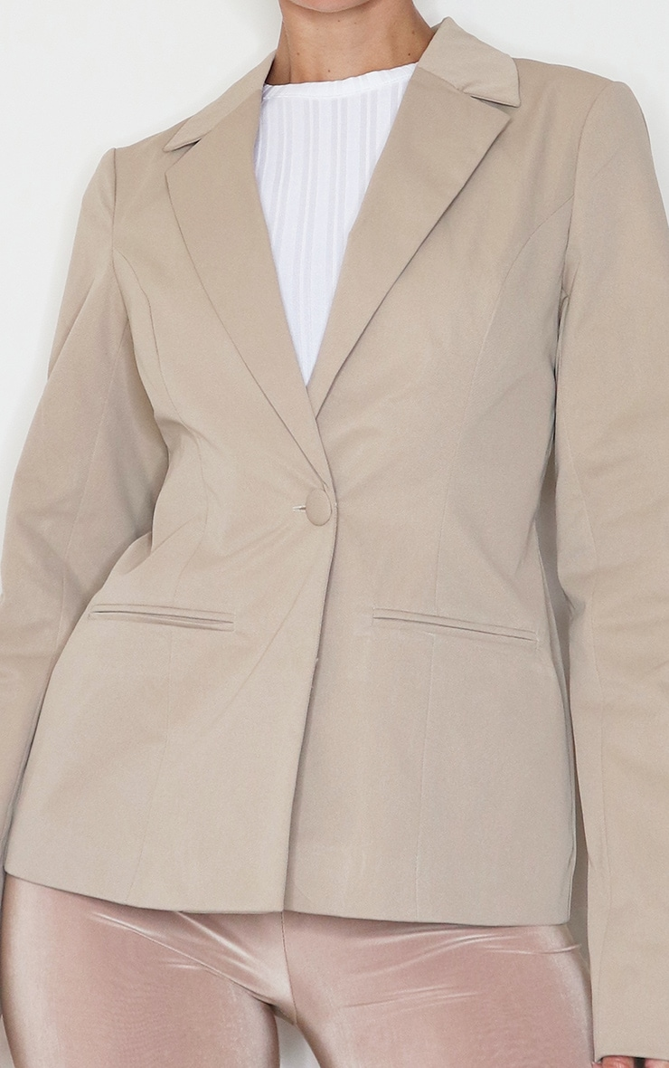 Camel Structured Cinched Waist Pocket Front Blazer 4