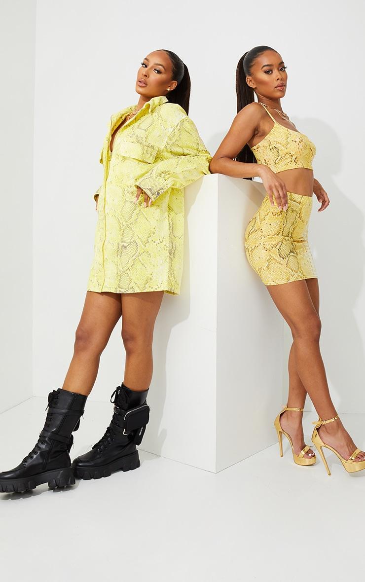 Yellow Snake Print Mini Skirt 6
