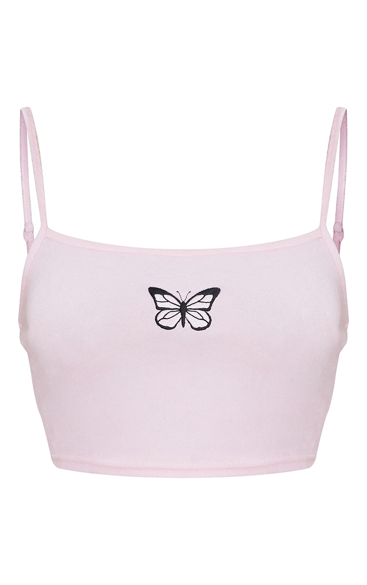 Baby Pink Towelling Butterfly Embroidered Crop Cami Top 5