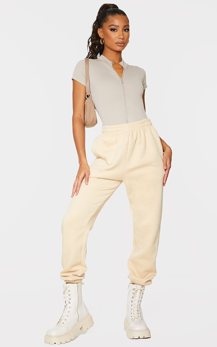 Stone Structured Contour Ribbed Zip Front Short Sleeve Bodysuit 3