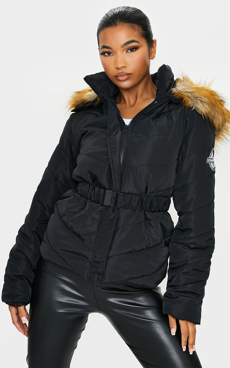 PRETTYLITTLETHING Black Belted Faux Fur Hooded Quilted Parka Coat 1