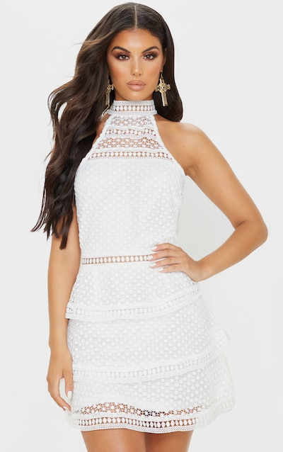 White Lace Panel Tiered Mini Dress